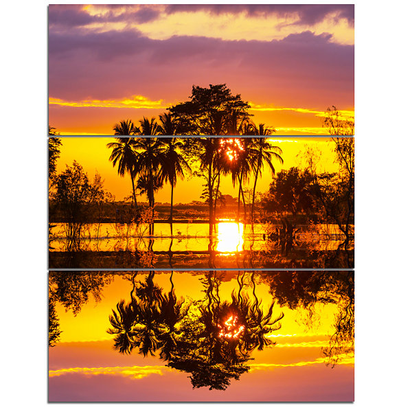 Design Art Trees Mirrored In Flooded Waters Landscape Wall Art On Canvas - 3 Panels
