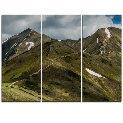 Designart Trekking Patch In Tatra Mountains Landscape Triptych Canvas Art Print
