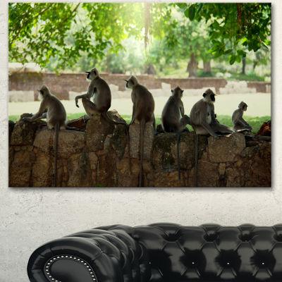 Designart Troop Of Monkeys In Sri Lanka African Landscape Canvas Art Print