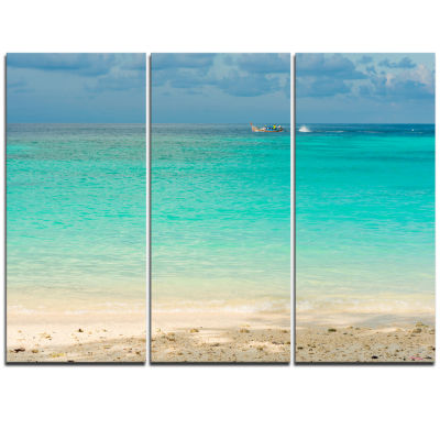 Designart Tropical Andaman Sea With Blue Sky Modern Seascape Triptych Canvas Artwork