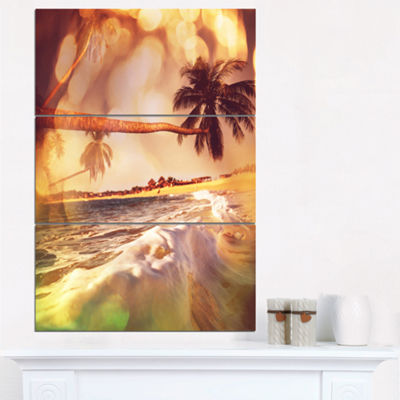 Designart Tropical Beach With Bent Coconut PalmsModern Beach Triptych Canvas Art Print