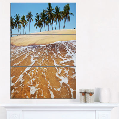 Designart Tropical Beach With Crystal Waters LargeSeashore Triptych Canvas Print