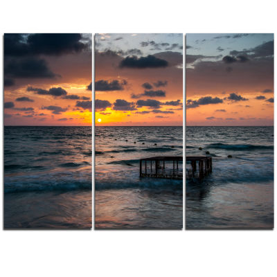 Designart Tropical Beach With Empty Cage Extra Large Seashore Triptych Canvas Art