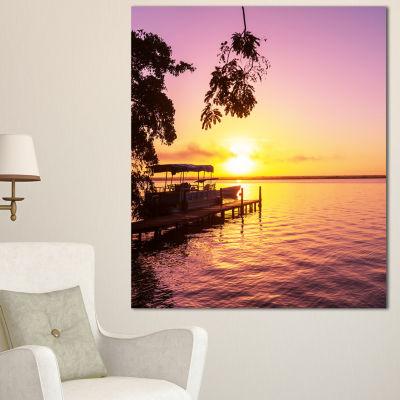 Designart Tropical Beach With Fantastic Sunset Extra Large Landscape Canvas Art