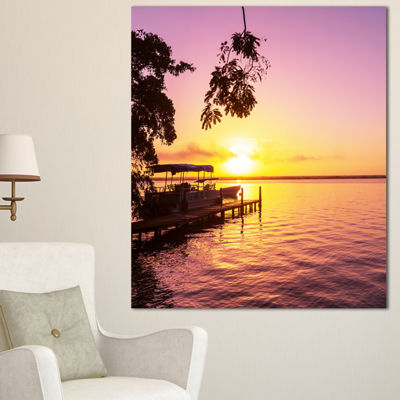 Designart Tropical Beach With Fantastic Sunset Extra Large Landscape Canvas Art - 3 Panels