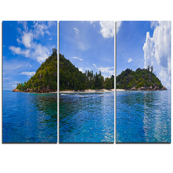 Design Art Tropical Island At Seychelles PanoramaModern Seascape Triptych Canvas Artwork