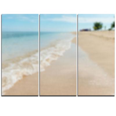 Designart Tropical Island Beach Waves Modern Seascape Triptych Canvas Artwork
