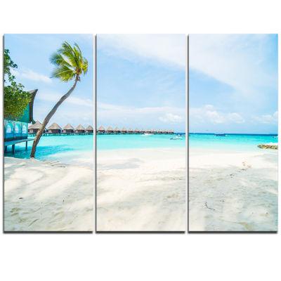 Design Art Tropical Maldives Island Seascape Triptych Canvas Art Print
