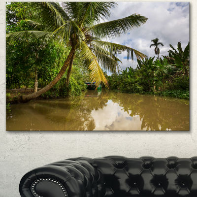 Designart Tropical River With Bent Coconut Palm Oversized Landscape Canvas Art - 3 Panels