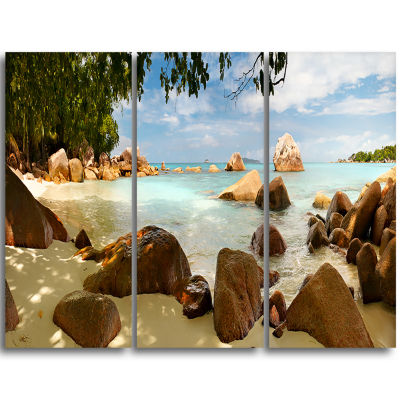 Designart Tropical Rocky Beach Panorama Extra Large Wall Art Landscape
