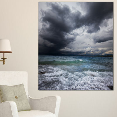 Designart Troubled Sea Under Stormy Sky Beach Photo Canvas Print - 3 Panels