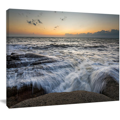 Designart Troubled Sunset Sea Waves Beach Photo Canvas Print