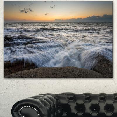 Designart Troubled Sunset Sea Waves Beach Photo Canvas Print - 3 Panels