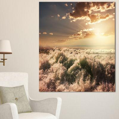 Designart Troubled White Waves On Beach Seascape Canvas Art Print - 3 Panels
