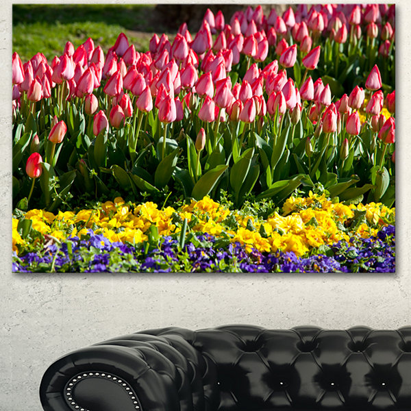Designart Tulip Garden With Yellow Flowers FloralCanvas Art Print