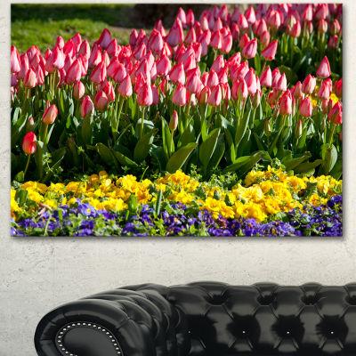 Designart Tulip Garden With Yellow Flowers FloralCanvas Art Print - 3 Panels