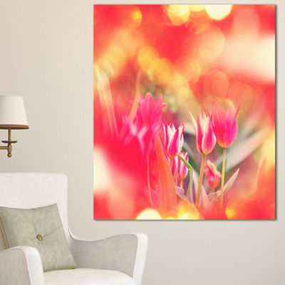 Designart Tulips On Abstract Red Background FloralCanvas Art Print