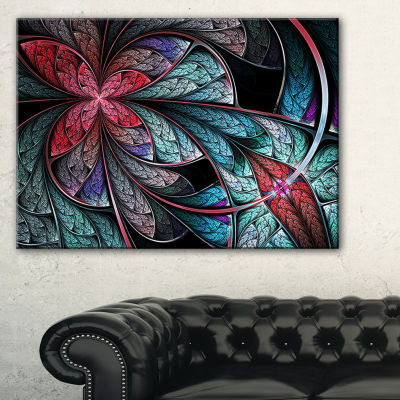 Designart Turquoise And Red Fractal Flower PatternFloral Canvas Art Print