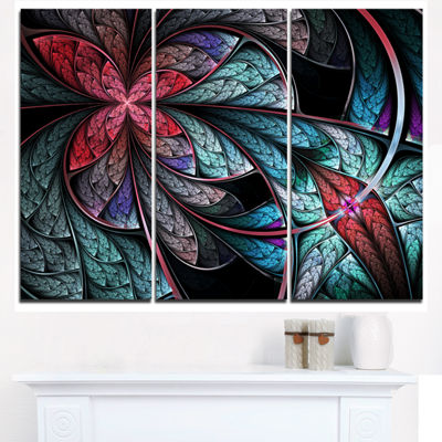 Designart Turquoise And Red Fractal Flower PatternFloral Triptych Canvas Art Print