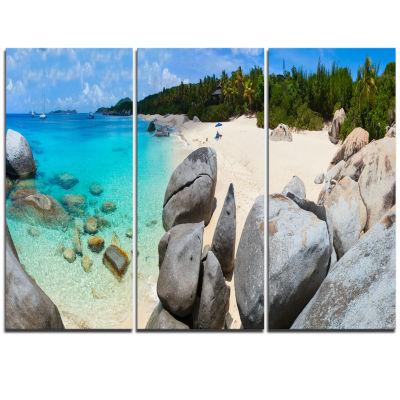 Designart Turquoise Ocean Water With Rocks ModernSeascape Triptych Canvas Artwork