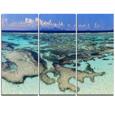 Designart Turquoise Tropical Ocean Waters Modern Seascape Triptych Canvas Artwork