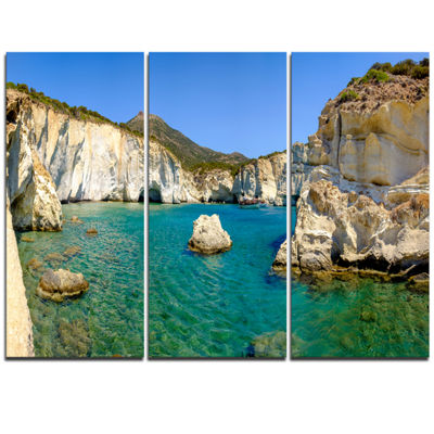 Designart Turquoise Water Beach Panorama Extra Large Seashore Triptych Canvas Art