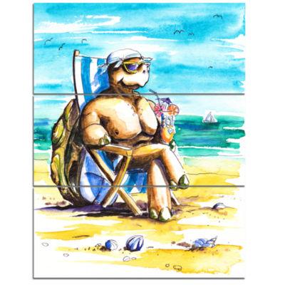 Designart Turtle Enjoying Holidays On Beach LargeSeashore Triptych Canvas Print