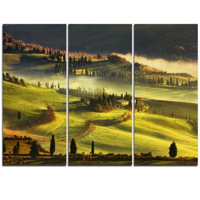 Designart Tuscany Farmland And Cypress Trees Oversized Landscape Wall Art Print