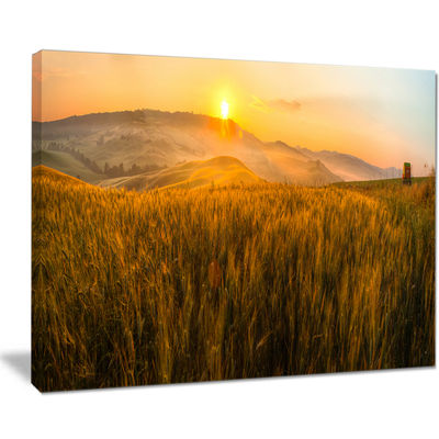 Designart Tuscany Wheat Field At Sunrise LandscapeArtwork Canvas