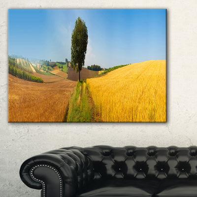 Designart Tuscany Wheat Field Hill Panorama Landscape Artwork Canvas