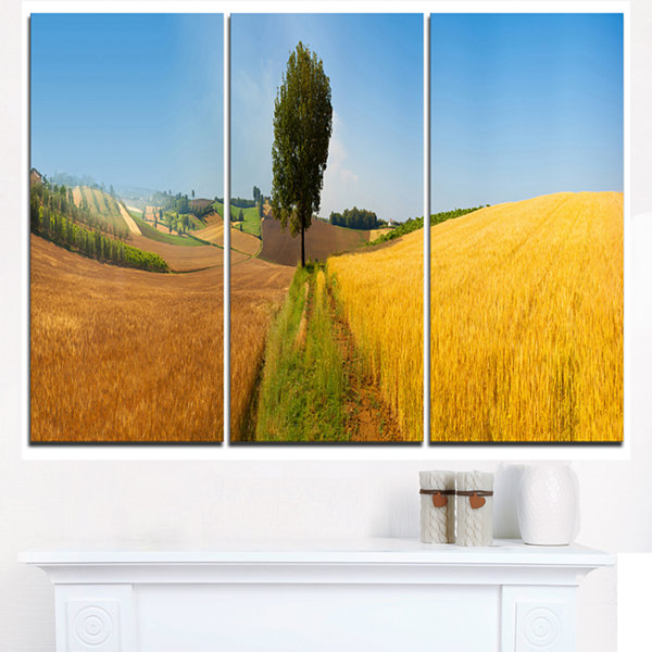Designart Tuscany Wheat Field Hill Panorama Landscape Artwork Triptych Canvas
