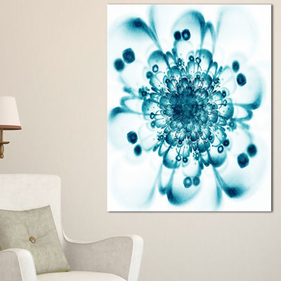 Designart Typical Blue Snowy Fractal Flower FloralArt Canvas Print