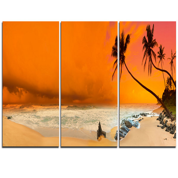 Designart Typical Evening Seashore Panorama ExtraLarge Seashore Triptych Canvas Art