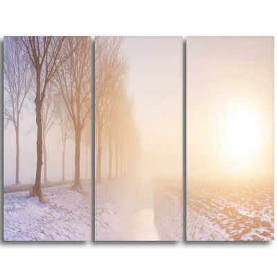 Designart Typical Polder Land In The Nether Landscape Triptych Canvas Art Print