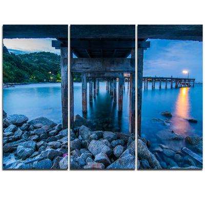 Designart Under Wood Bridge At Twilight Sea BridgeTriptych Canvas Art Print