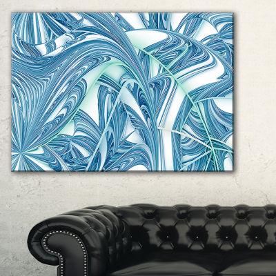 Designart Unique Blue Fractal Design Pattern Oversized Abstract Canvas Art