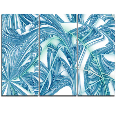 Designart Unique Blue Fractal Design Pattern Oversized Abstract Triptych Canvas Art