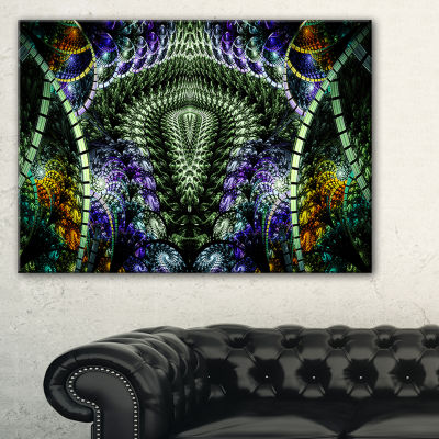 Designart Unique Colorful Fractal Design Pattern Oversized Abstract Canvas Art