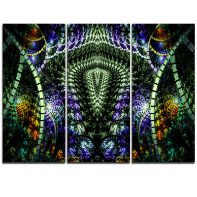 Designart Unique Colorful Fractal Design Pattern Oversized Abstract Triptych Canvas Art