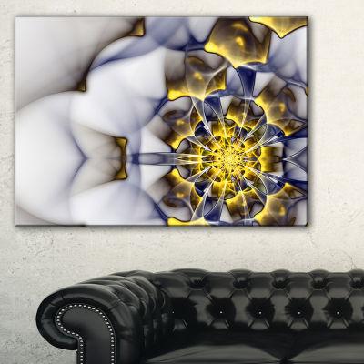 Designart Unique Gold And White Fractal Flower Floral Canvas Art Print