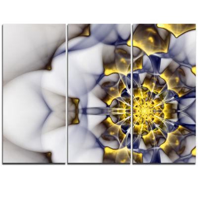 Designart Unique Gold And White Fractal Flower Floral Triptych Canvas Art Print