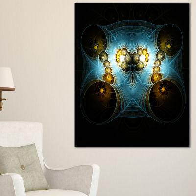 Designart Unique Light Blue Fractal Design PatternOversized Abstract Canvas Art