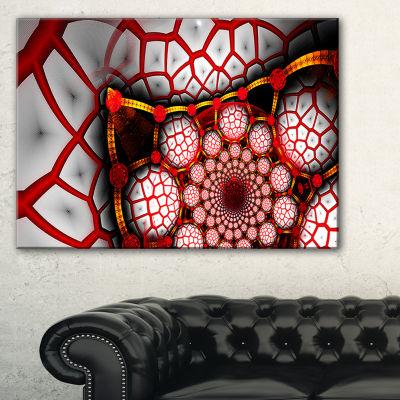 Designart Unique Light Red Fractal Design PatternOversized Abstract Canvas Art