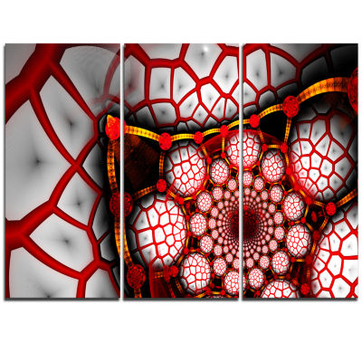 Designart Unique Light Red Fractal Design PatternOversized Abstract Triptych Canvas Art
