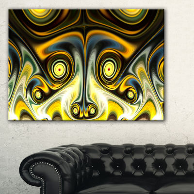Designart Unique Light Yellow Fractal Design Pattern Oversized Abstract Canvas Art