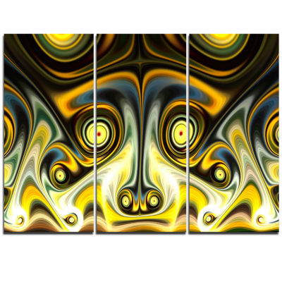 Designart Unique Light Yellow Fractal Design Pattern Oversized Abstract Triptych Canvas Art