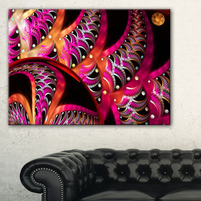 Designart Unique Magenta Fractal Design Pattern Oversized Abstract Canvas Art