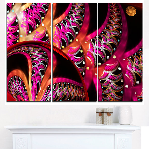 Designart Unique Magenta Fractal Design Pattern Oversized Abstract Triptych Canvas Art