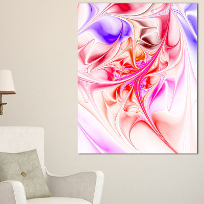 Designart Unique Red Fractal Design Pattern Oversized Abstract Canvas Art