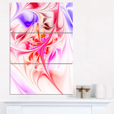 Designart Unique Red Fractal Design Pattern Oversized Abstract Triptych Canvas Art